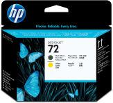 HP Tëte d'impression noire mat et jaune n°72 C9384A