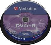 VERBATIM Tour de 10 DVD+R 4,7GB vitesse d'écriture 16x + REDEVANCE 43498