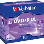 VERBATIM Pack de 5 DVD+R Dual Layer double couche / boîtier cristal 8,5GB 8x + REDEVANCE 43596