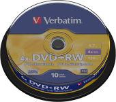 VERBATIM Tour de 10 DVD+RW 4,7GB vitesse d'écriture 10x + REDEVANCE 43488
