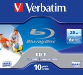 VERBATIM Pack de 10 Blue Ray imprimables 25Go 6x +redv 43713