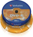 VERBATIM Tour de 25 DVD-R 4,7GB vitesse d'écriture 16x + REDEVANCE 43522