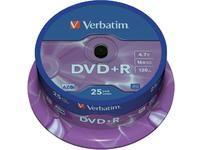 VERBATIM Tour de 25 DVD+R 4,7GB vitesse d'écriture 16x + Redevance 43500