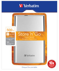 VERBATIM Disque dur Store'N'Go USB3.0 500Go Silver 53021 + redevance
