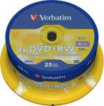 VERBATIM tour de 25 DVD+RW 4x 43489 + Redevance